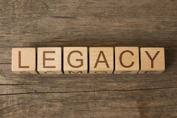 Legacy spelled with wooden blocks